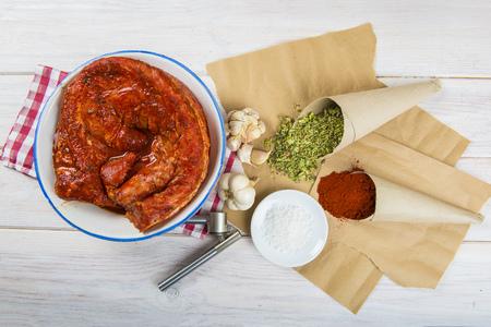 Spanish style marinated pork tenderloin with paprika, garlic, salt and oregano Stock Photo
