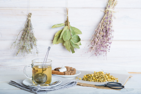 Making a beverage with chamomile flowers and a mesh ball tea infuser on a white wooden background