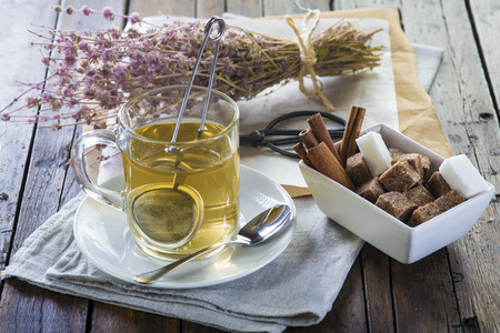 Mentha pulegium or pennyroyal tea made of wild plats Foto de archivo