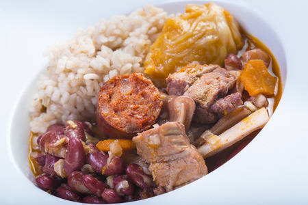 Traditional Portuguese feijoada served on a plate for a healthy eating
