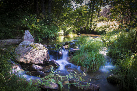 Relaxing landscape of a river with water flowing between the stones and making beautiful waterfalls