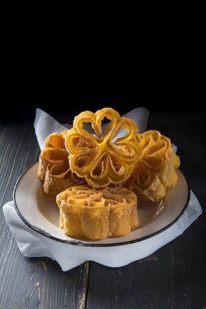 Carnival flowers a traditional Spanish homemade dessert
