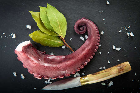 Cooked octopus over a slate plate decorated wit spices Stock Photo