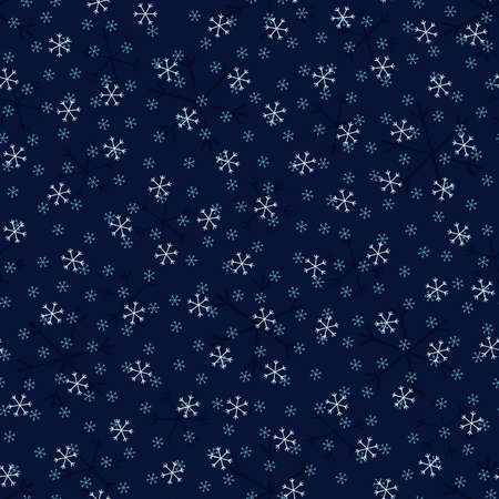 Seamless Christmas pattern doodle with hand random drawn snowflakes.Wrapping paper for presents, funny textile fabric print, design, decor, food wrap, backgrounds. new year.Raster copy.Blue white