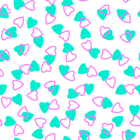 Simple heart seamless pattern, endless chaotic texture made of tiny heart silhouettes.Valentines, mothers day background.Azure, lilac, white.Great for Easter, wedding, scrapbook, gift wrapping paper, textiles
