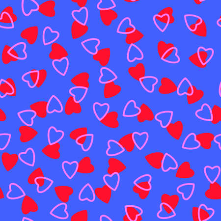 Simple hearts seamless pattern, endless chaotic texture made of tiny heart silhouettes.Valentines, mothers day background.Great for Easter, wedding, scrapbook, gift wrapping paper, textiles.Red, pink, blue.
