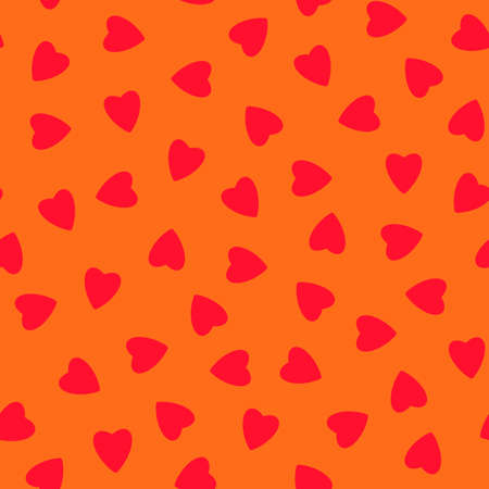 Simple hearts seamless pattern, endless chaotic texture made of tiny heart silhouettes.Valentines, mothers day background.Great for Easter, wedding, scrapbook, gift wrapping paper, textiles.Red on orange. Stock fotó