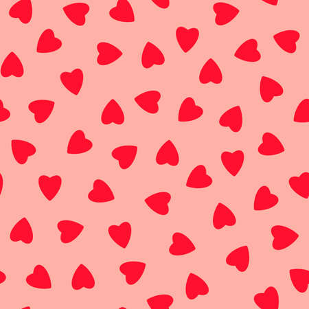 Simple hearts seamless pattern, endless chaotic texture made of tiny heart silhouettes.Valentines, mothers day background.Great for Easter, wedding, scrapbook, gift wrapping paper, textiles.Red on pink.