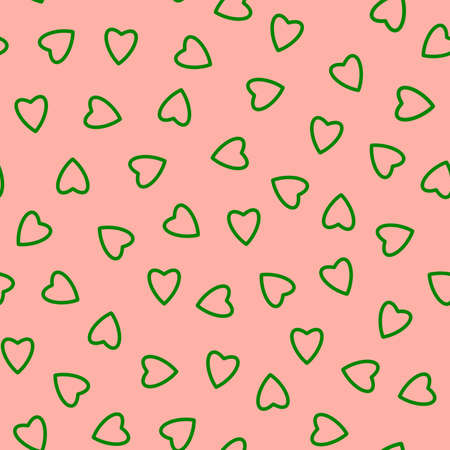 Simple hearts seamless pattern, endless chaotic texture made of tiny heart silhouettes.Valentines, mothers day background.Great for Easter, wedding, scrapbook, gift wrapping paper, textiles.Green on pink.