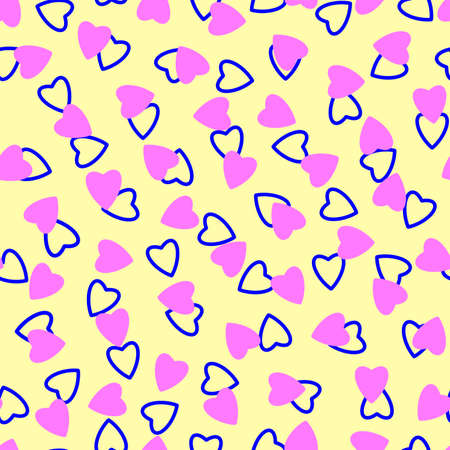 Simple hearts seamless pattern, endless chaotic texture made of tiny heart silhouettes.Valentines, mothers day background.Lilac, blue, ivory.Great for Easter, wedding, scrapbook, gift wrapping paper, textiles