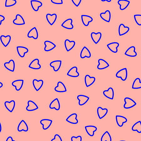 Simple hearts seamless pattern, endless chaotic texture made of tiny heart silhouettes.Valentines, mothers day background.Great for Easter, wedding, scrapbook, gift wrapping paper, textiles.Blue on peach. Stock fotó