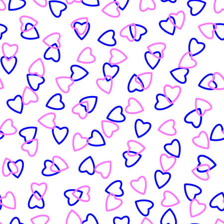 Simple hearts seamless pattern, endless chaotic texture made of tiny heart silhouettes.Valentines, mothers day background.Blue, lilac, white.Great for Easter, wedding, scrapbook, gift wrapping paper, textiles