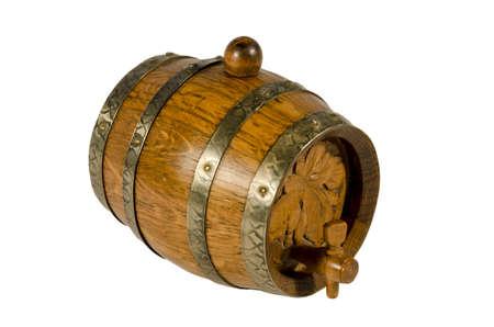 Old wooden wine barrel on white background