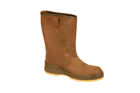brown leather boot on a white background