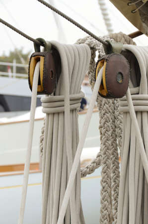 pulleys and ropes of sailing