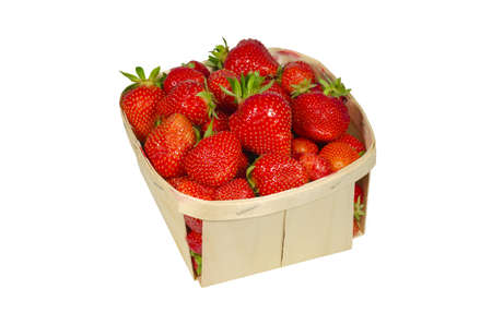 punnet of strawberries isolated