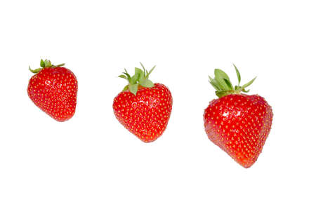 ovoid: three strawberries isolated