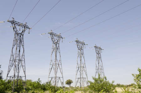 electric pylons in the countryside Stock Photo