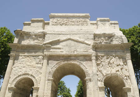Orange, Vaucluse, France-June 14, 2011: Front of roman arch of triumph  Stock Photo