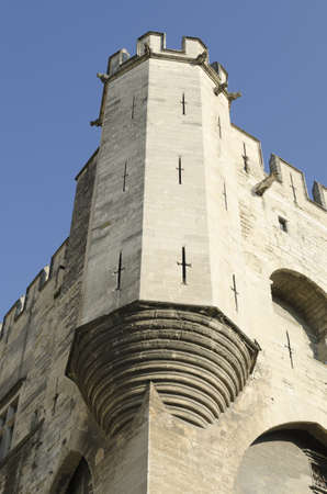 Avignon, Vaucluse, France-April 16, 2011: Corner tower of palace of popes