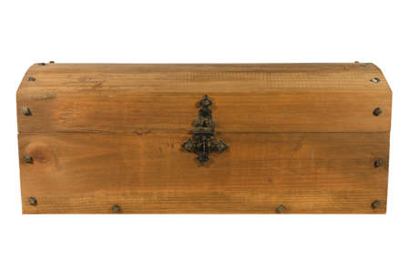old wooden coffer closed isolated Stock Photo