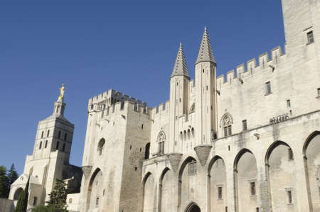 palace of the popes in Avignon, France Stock Photo