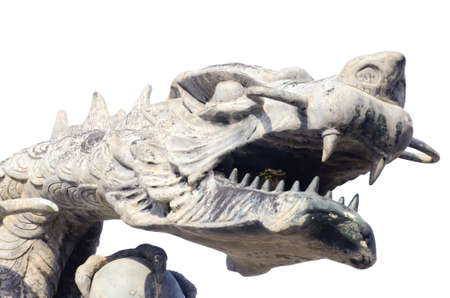 dragon head statue isolated on white background