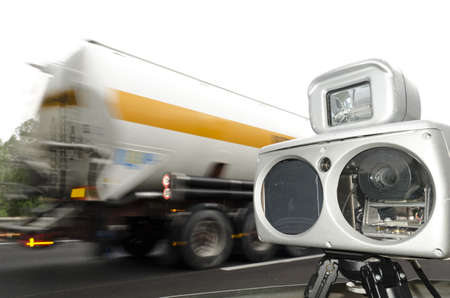 speed camera and truck on road Stock Photo - 16313519