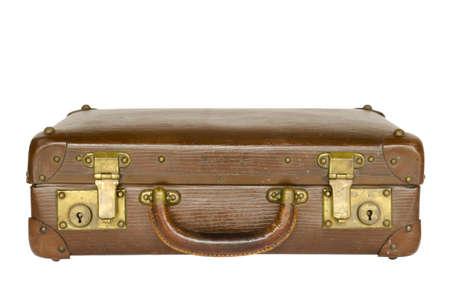 old leather suitcase isolated on white background Stock Photo