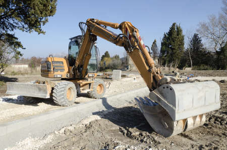 public works: backhoe on a construction site