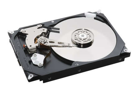 hard disk open isolated on white background photo