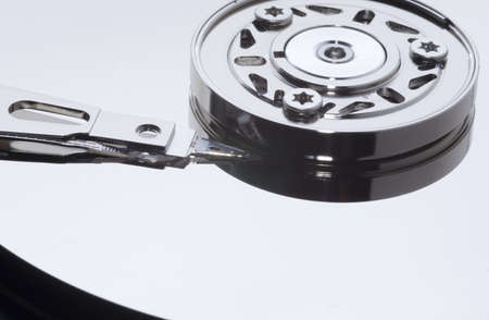 hard drive mechanism, macro photography Stock Photo