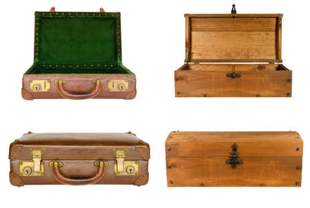 open suitcase: collage of suitcases and chests isolated on white