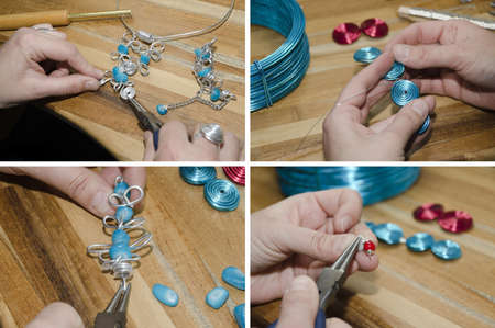 hands of woman creating fashion jewelry Stock Photo