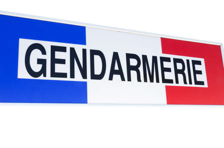 Gendarmerie sign, french police, isolated on white