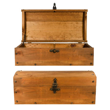 wooden trunk opened and closed isolated Stock Photo