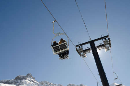 chair lift in winter Stock Photo
