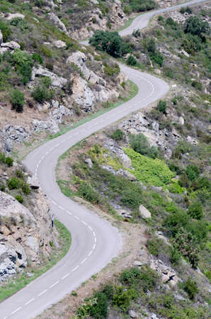 serpentine mountain road, aerial view Stock Photo