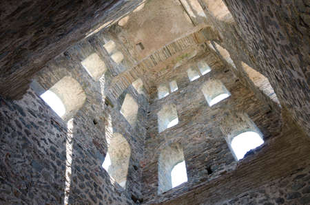 a medieval tower, inside view from below Editorial