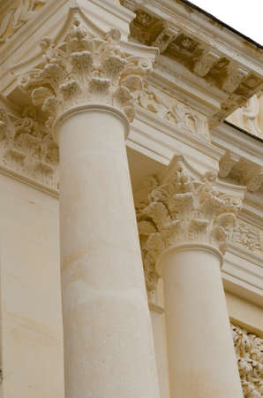 two columns, detail of ancient architecture Stock Photo