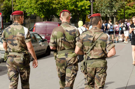 Paris, France-August 13, 2013: military patrol in Paris against the risk of terrorist attack