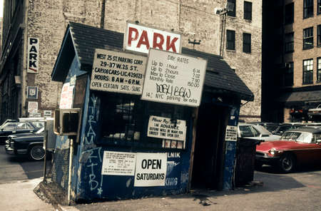 New York City, USA - April 15, 1985: Old parking with a dilapidated office in Manhattan in the 80s Editorial