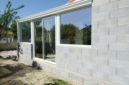 construction veranda with windows and concrete Stock Photo