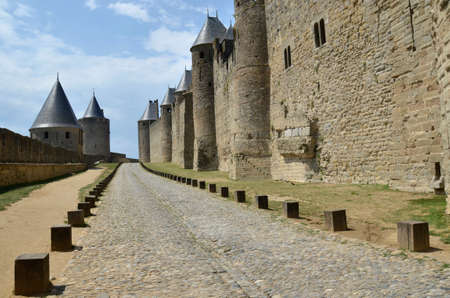 around the ramparts of Carcassonne, France