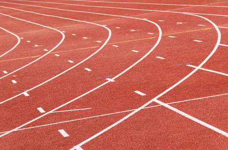 Athletics track curves, sport background Stock Photo