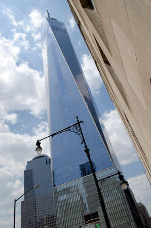 New York City, USA - May 4, 2015: one world trade center, freedom tower in Manhattan from below