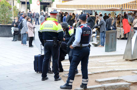 Barcelona, Spain - December31, 2017: Catalan police watch the city center against the attack of terrorists before the New Year's Day