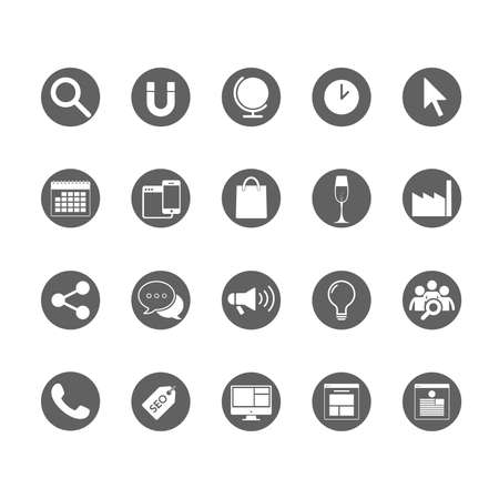 webpage: Website Flat Icons Round