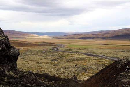 Landscape of a sinuous road in Iceland.