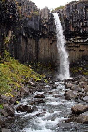 Svartifoss, one of the most beautiful waterfalls in Iceland. Imagens